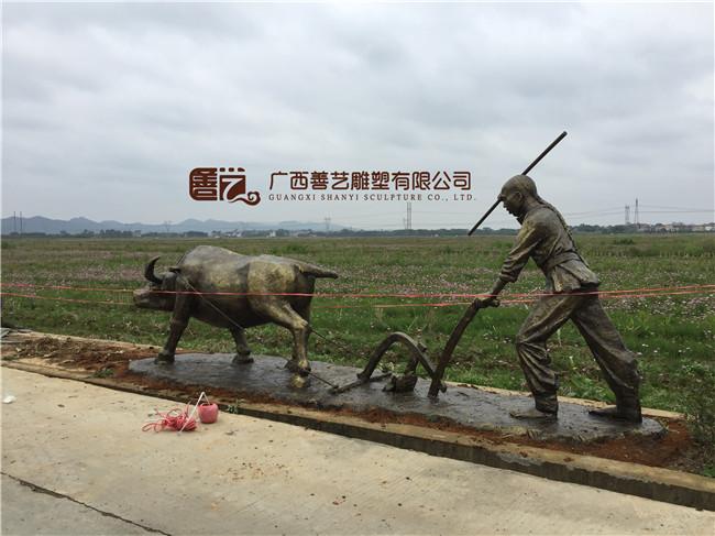 横县玻璃钢农耕雕塑制作